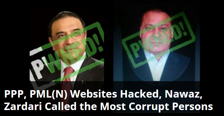 PPP, PML(N) Websites Hacked, Nawaz, Zardari Called the Most Corrupt Persons 1