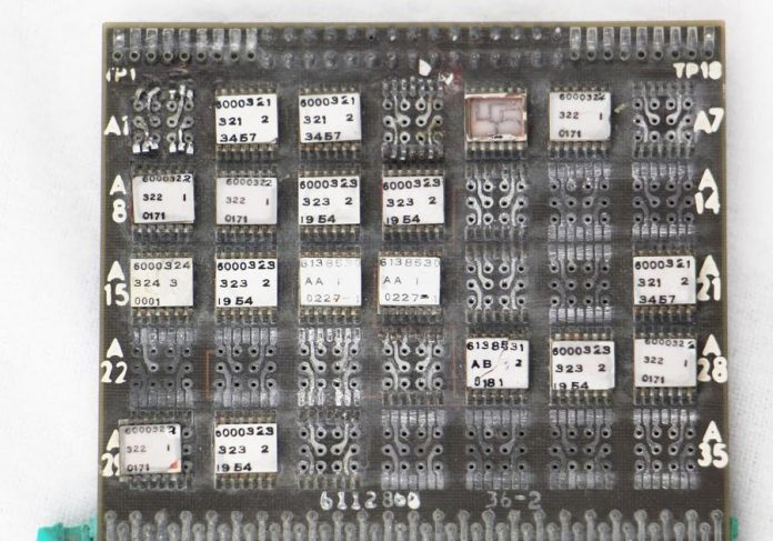 A circuit board from the Saturn V rocket, reverse-engineered and explained